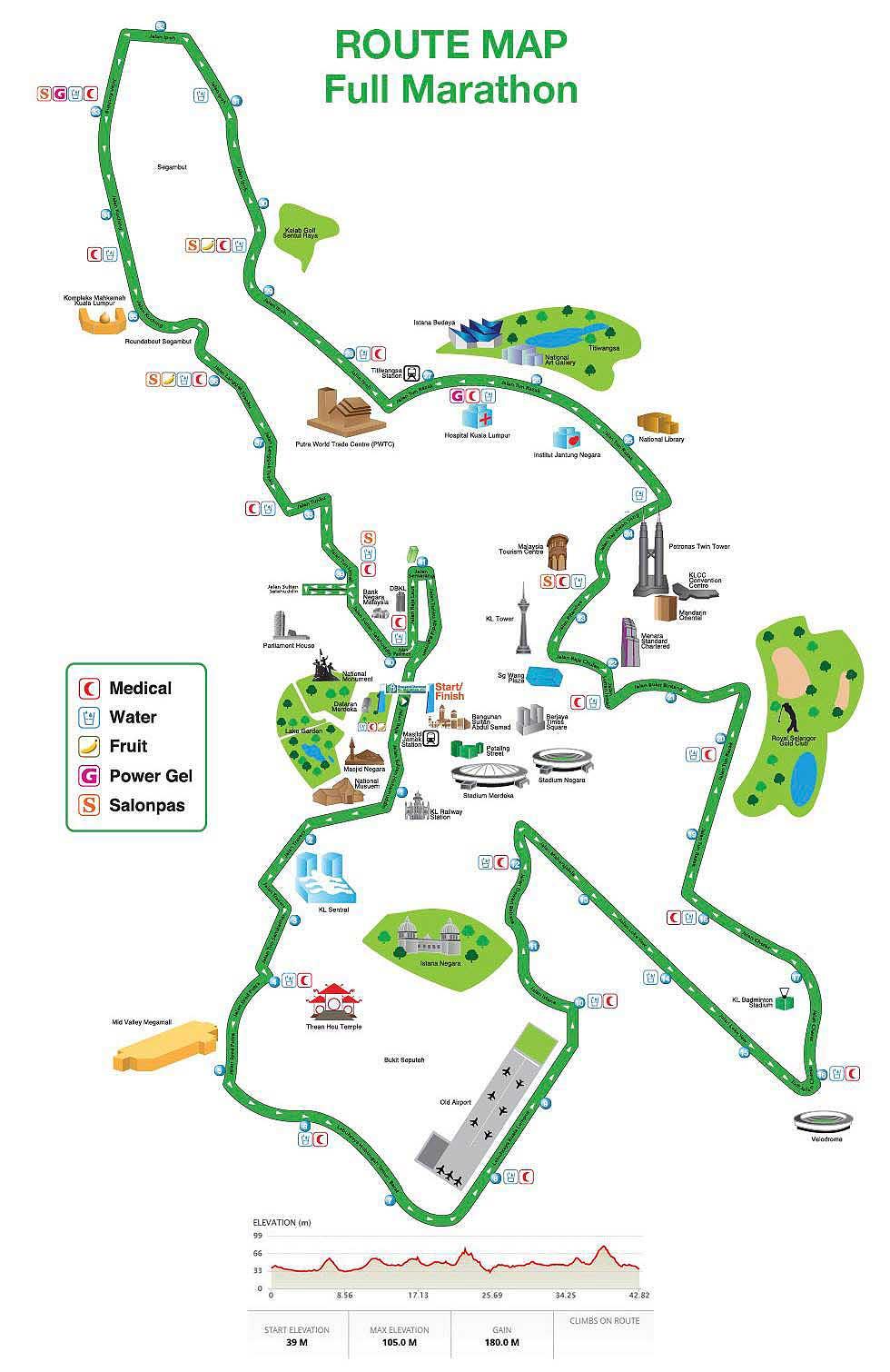 Mappa del percorso della Standard Chartered KL Marathon