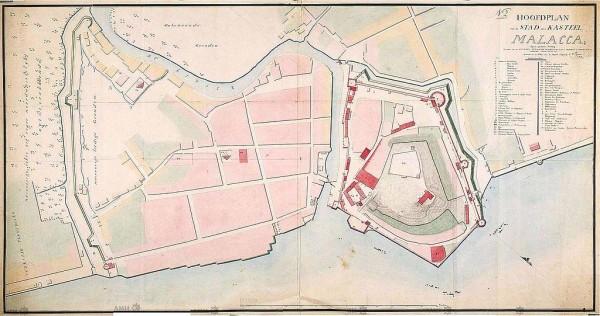 Antica pianta della città di Malacca in epoca olandese (ca. 1780)